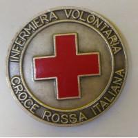 DISTINTIVO CROCE ROSSA ITALIANA INFERMIERA VOLONTARIA - METALLO - DIAMETRO 2,7 cm