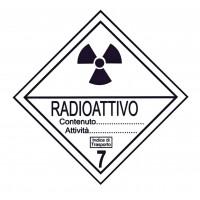 CARTELLONISTICA ADESIVA NORMATIVA ADR PER AUTOTRASPORTO MERCI PERICOLOSE CLASSE 7 RADIOATTIVI (DIM. 15x15 CM)