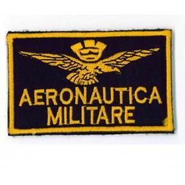 TOPPA MILITARE CON VELCRO AERONAUTICA MILITARE - SCRITTE E DISEGNI RICAMATI - DIM. 9,0x5,5 cm