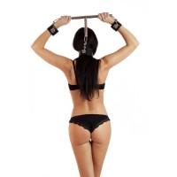 BDSM DISTANZIATORE COSTRITTIVO IN METALLO CON MANETTE E COLLARE - LUNGHEZZA 40 CM