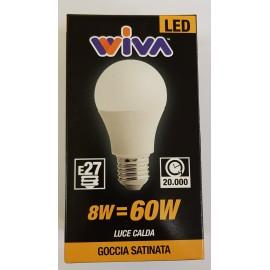 WIVA LED BASIC GOCCIA D60 OPALE 8W LUCE CALDA E27 800 LUMEN