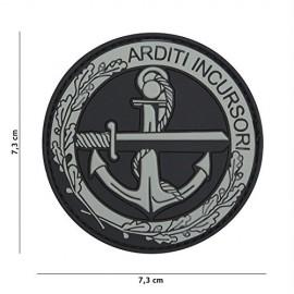 TOPPA PATCH 3D PVC ARDITI INCURSORI CON VELCRO (GRIGIA) - DIAMETRO 7,3 cm