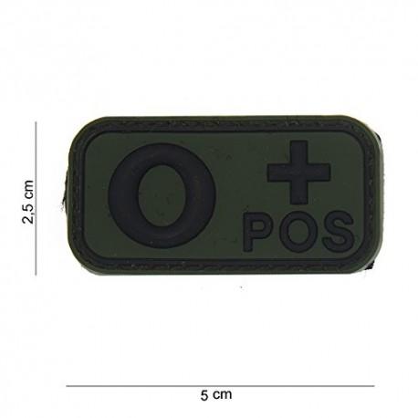 TOPPA PATCH 3D PVC GRUPPO SANGUIGNO 0+ (POSITIVO) CON VELCRO - DIM. 5,0 x 2,5 cm
