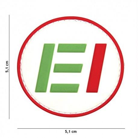 TOPPA PATCH MILITARE 3D PVC ESERCITO - EI CON VELCRO (BIANCA) - DIAMETRO 5,1 cm