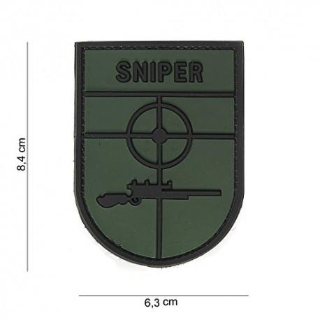 TOPPA PATCH MILITARE 3D PVC SNIPER CON VELCRO - DIM. 6,3 x 8,4 cm