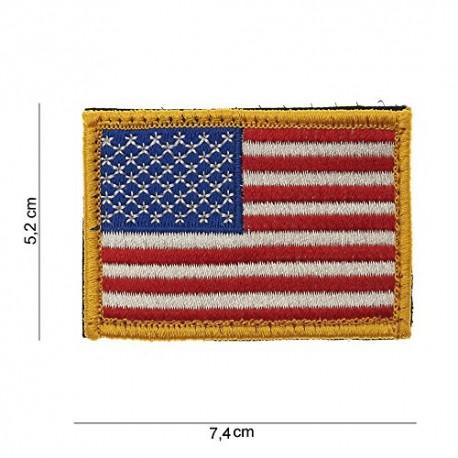 TOPPA PATCH BANDIERA USA - BORDO DORATO CON VELCRO - DIM. 7,4 x 5,2 cm