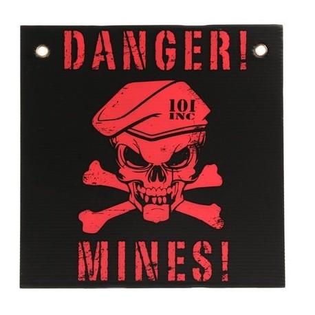 TARGA IN PLASTICA DANGER MINES - NERO/ROSSA - DIM. 30 x 30 cm