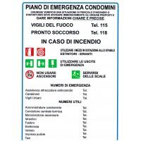 CARTELLONISTICA ADESIVA - PIANO DI EMERGENZA CONDOMINI - DIM. 21,0 x 30,0 cm