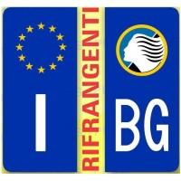ADESIVI PER TARGA MOTO EUROPEA BLU CON SIMBOLO E SIGLA BERGAMO - RIFRANGENTE